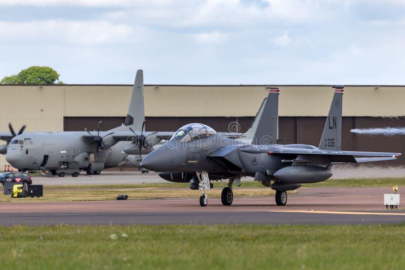 Greve Eagle 91-0335 do 494th esquadrão de lutador, 48th asa do U.S.A.F. McDonnell Douglas F-15E da força aérea de Estados Unidos  fotos de stock