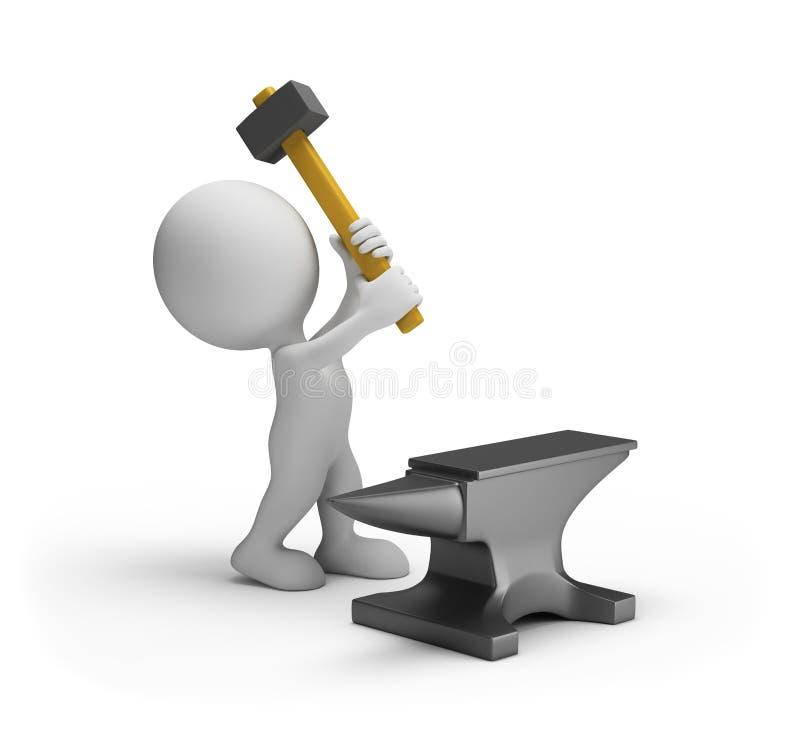 greves do homem 3d com um martelo de pequeno trenó ilustração stock