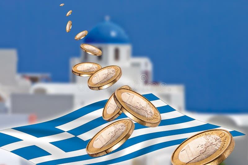 Grexit, euro monety, flaga, Grecja, Santorini zdjęcie royalty free