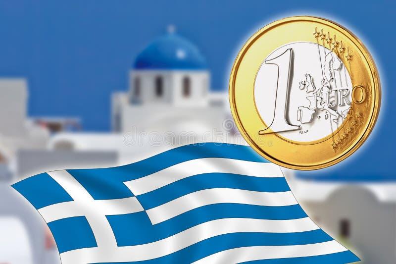 Grexit, Euro muntstukken, vlag, Griekenland, Santorini stock afbeelding