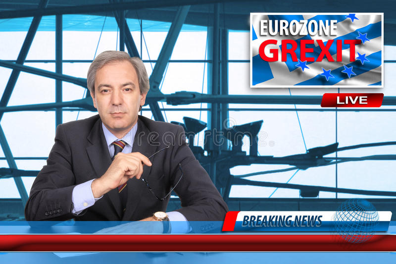 Grexit. News broadcast screen on Greece exit from Eurozone royalty free stock photography