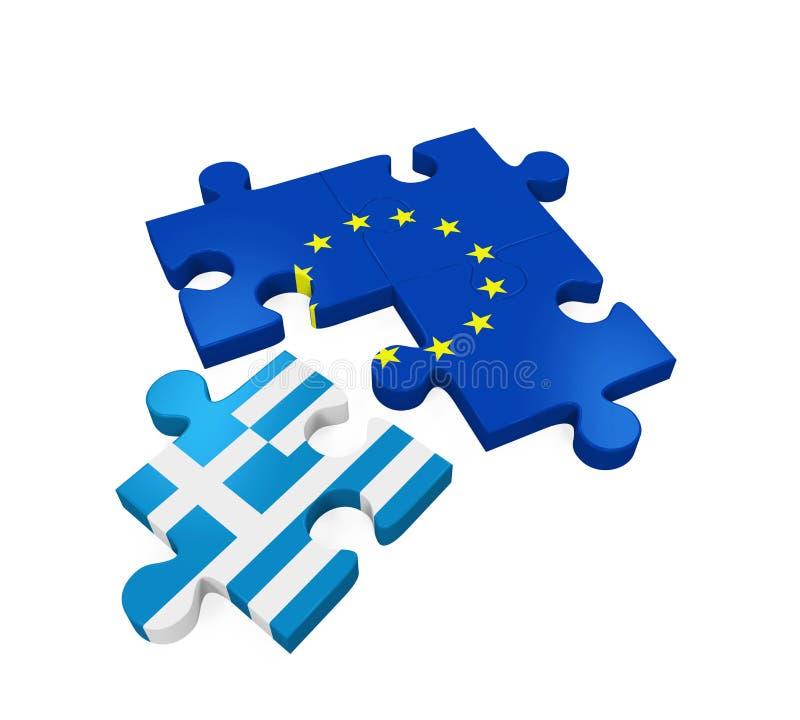 Grexit-Puzzlespiel-Stücke stock abbildung