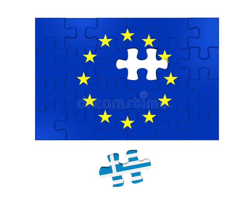 Grexit-Puzzlespiel-Stücke lizenzfreie abbildung