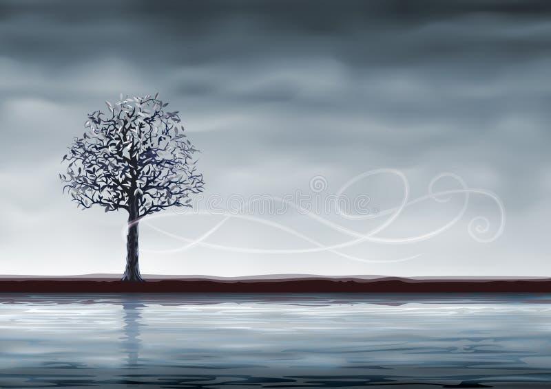 grey över treevatten royaltyfri illustrationer