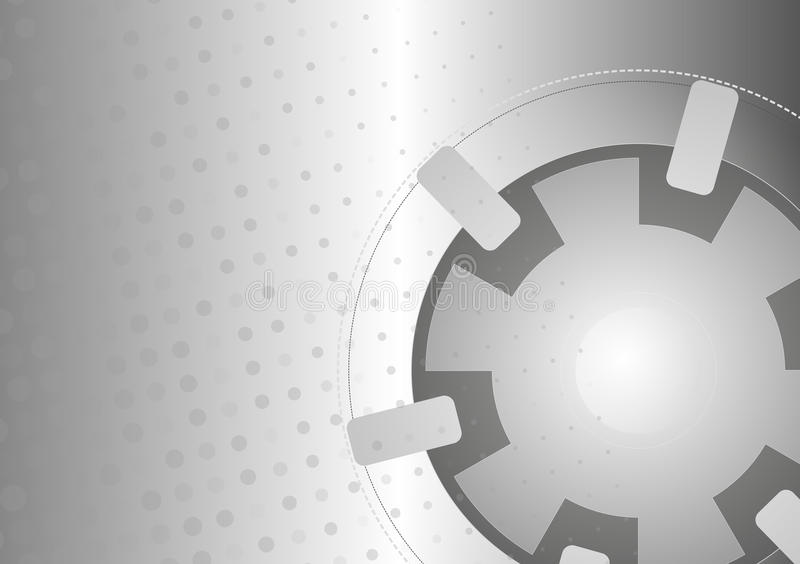 Grey Abstract Vector Technology Background. With Gear Shape And Dots royalty free illustration