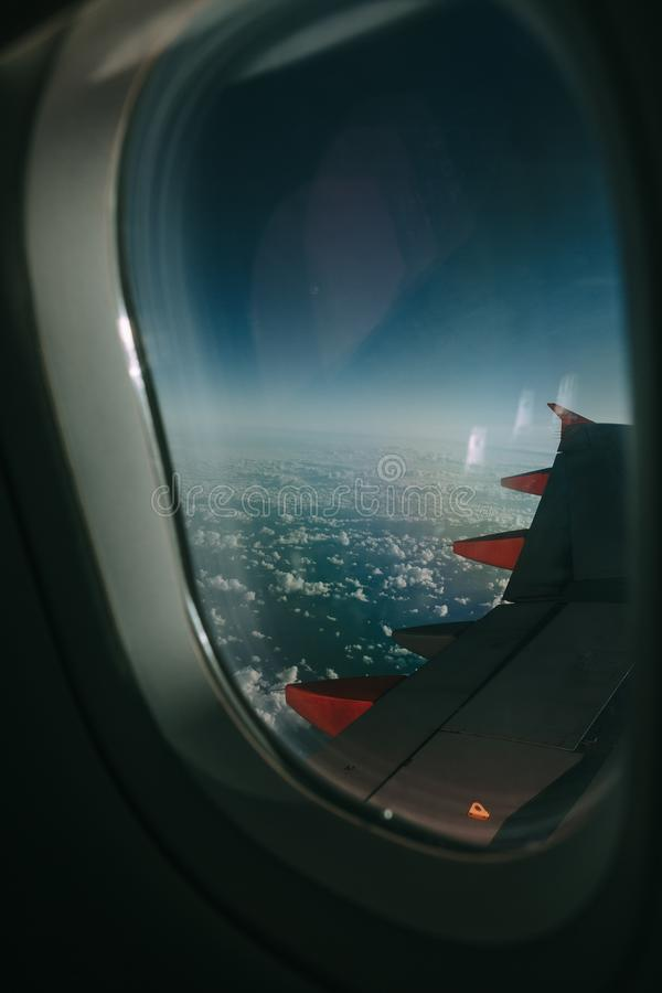 Grey Airplane Window royalty free stock image