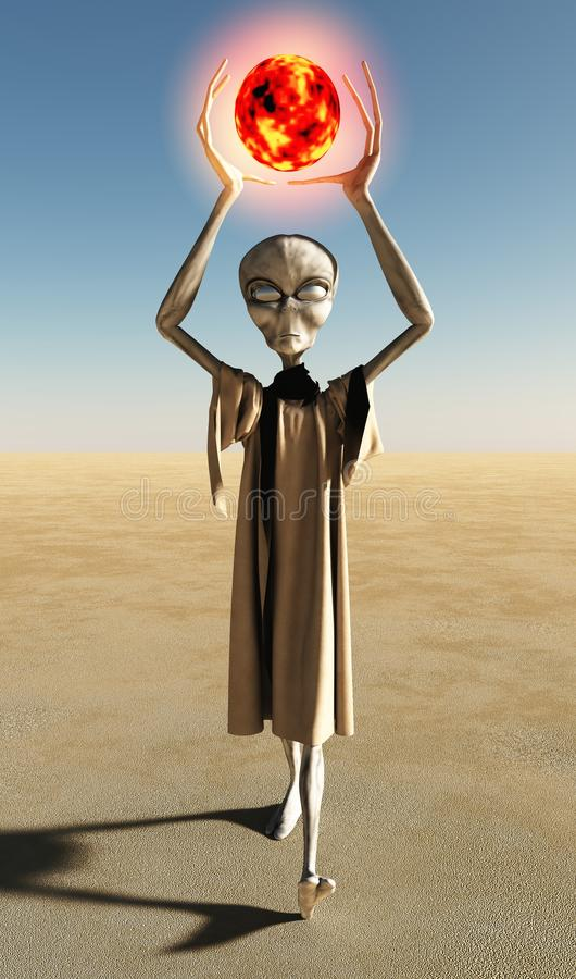 Grey Alien Creature With Glowing Orb Stock Photo