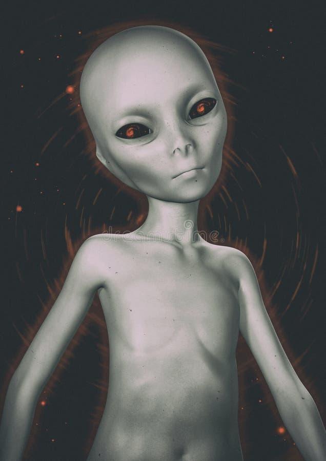 Grey Alien Portrait vector illustratie