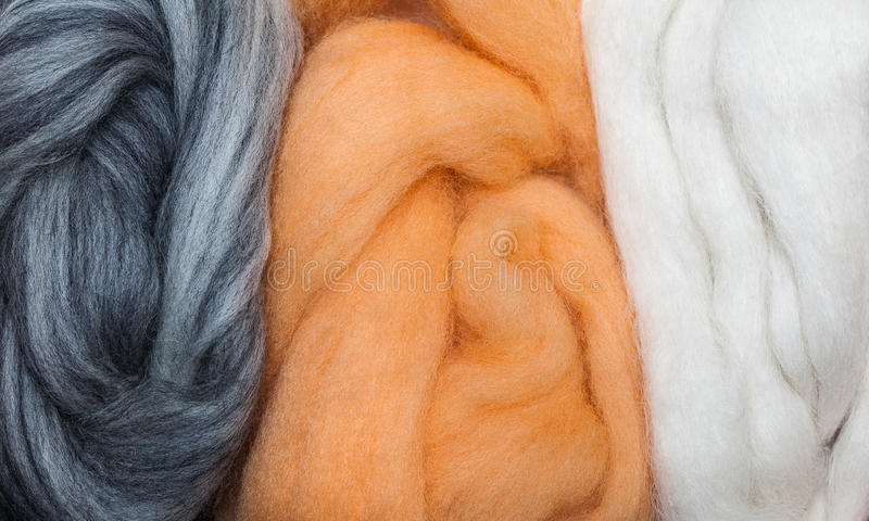 Grey and Apricot Felting Wool royalty free stock photos