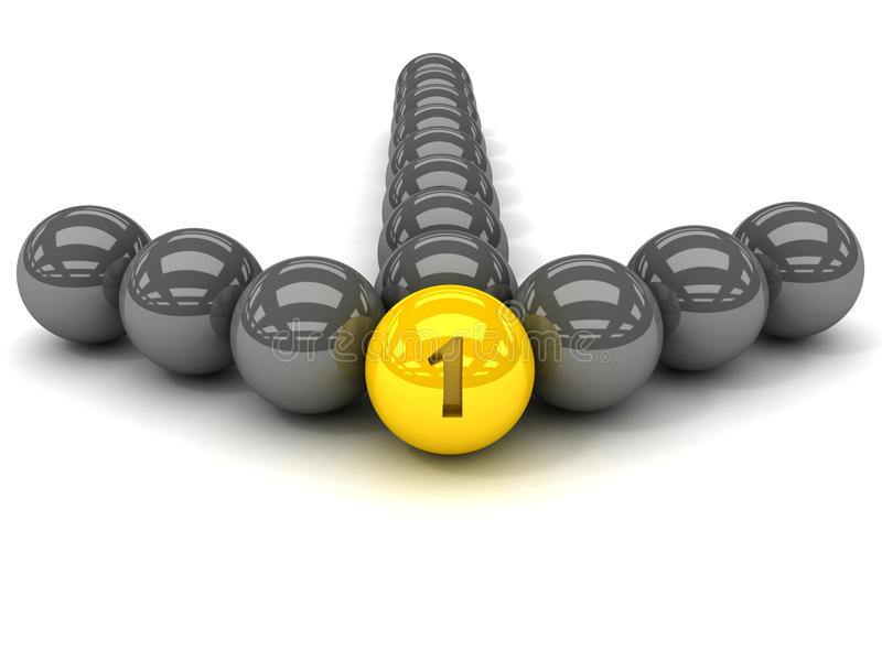 Grey arrow of the balls with the gold leader in front. vector illustration