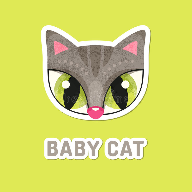 Grey baby cat with extremely big eyes. stock illustration
