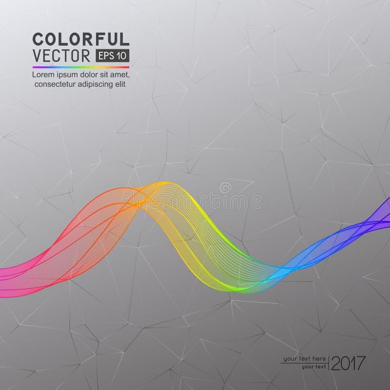 Grey Background abstrato com linha brilhante da onda do arco-íris em Triang ilustração do vetor