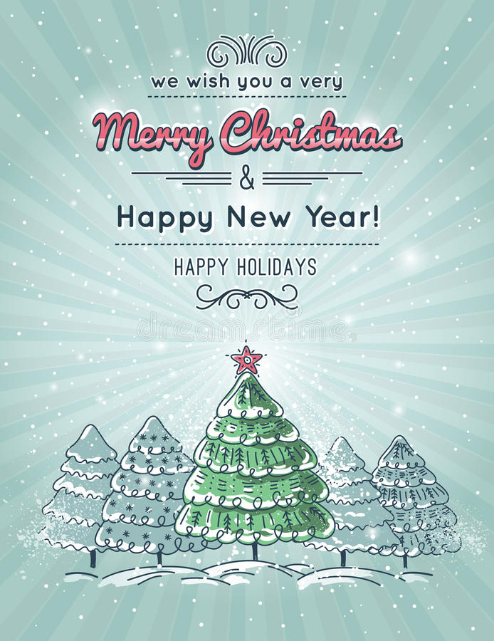 Grey background with forest of christmas tree stock illustration