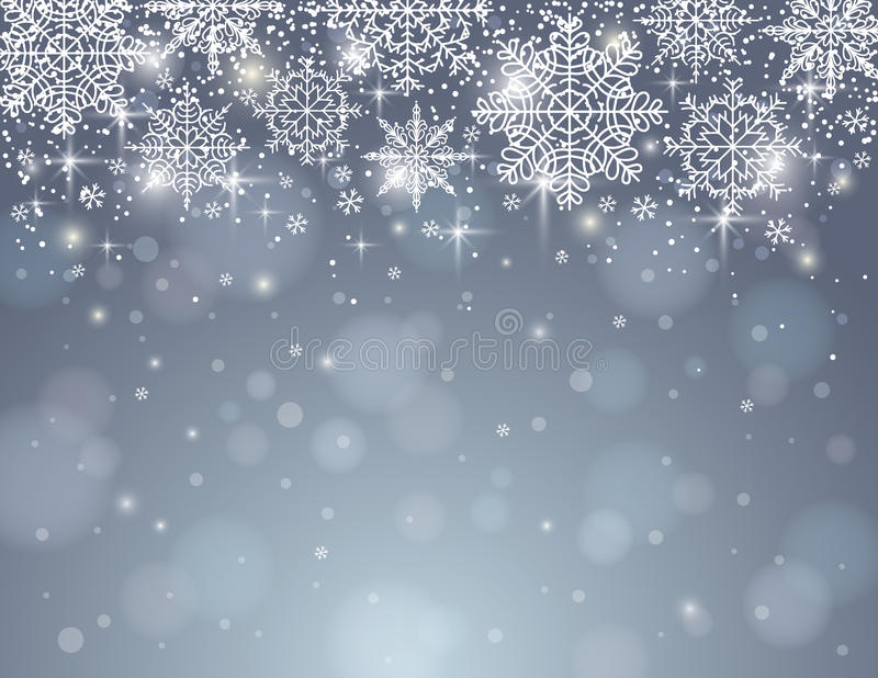 Grey background with snowflakes, vector stock illustration