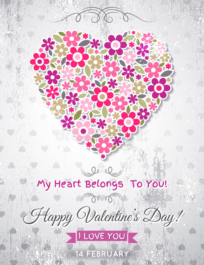 Grey background with valentine heart of spring flowers vector illustration