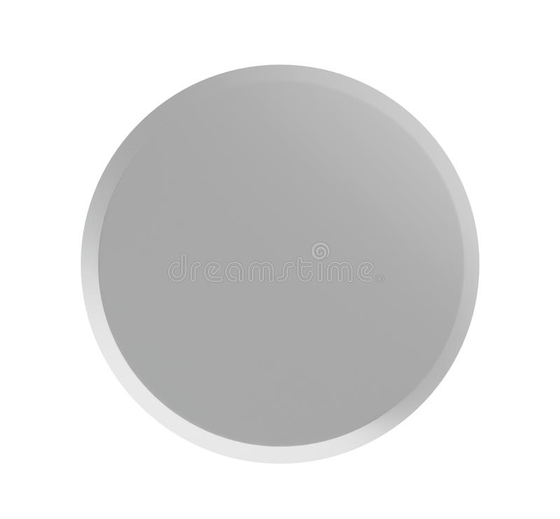 Grey badge pin isolated on white mock-up, 3d render illustration stock illustration