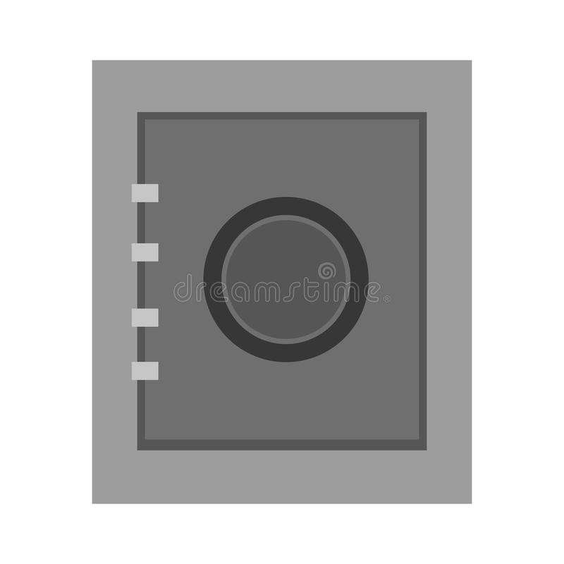 Grey bank security box, graphic. Grey security box, security concepto,bank concept over isolated background, illustration stock illustration
