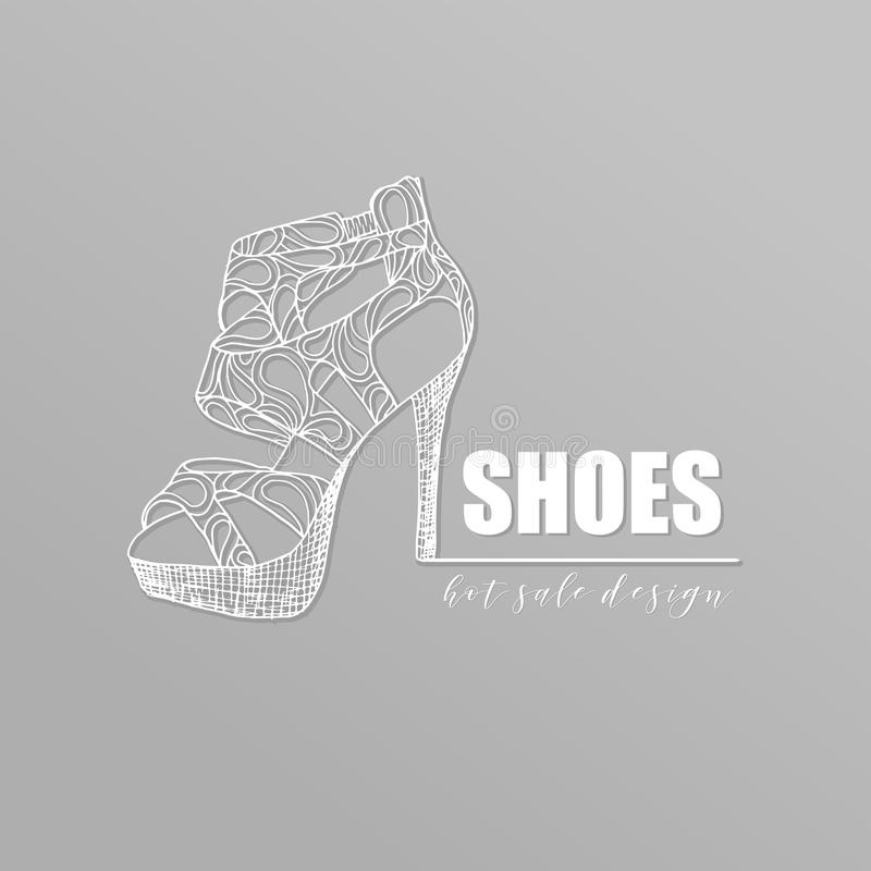 Grey banner with fashion woman footwear, trendy white lacy high heel shoes with shadow. For shop advertising royalty free illustration
