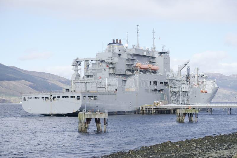 Grey battleship American and British royal fleet docked at naval base in Scotland for the Navy. Uk royalty free stock images