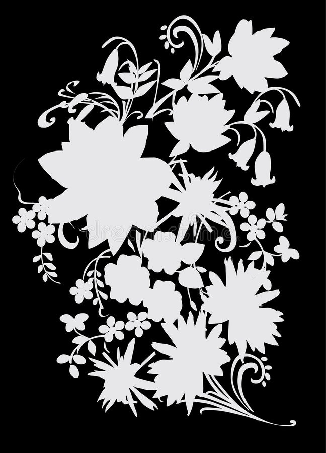 Grey on black flower bouquet. Illustration with grey flower decoration on black stock illustration