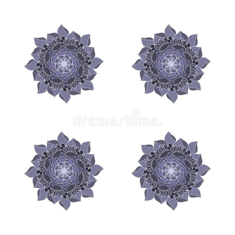 Grey black Flower rose vector concept logo organic plant. Retro spring or summer floral design element in mandalas style. Arabic stock illustration