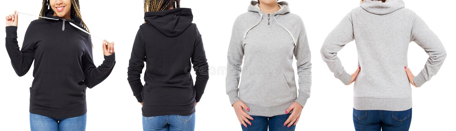 Grey and black hoodie set front and back view isolated on white background - hood mock up stock photo