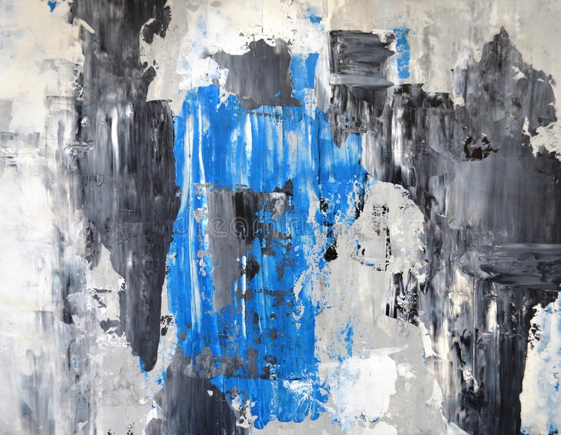 Grey and Blue Abstract Art Painting royalty free stock photography