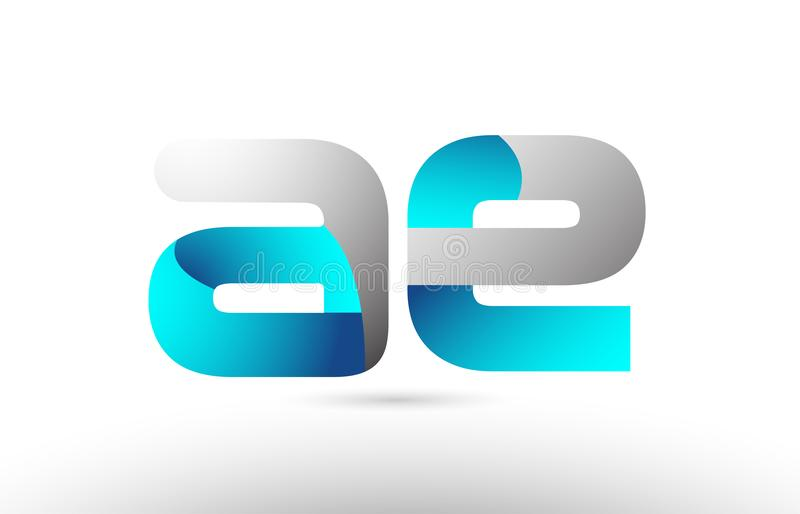 Grey blue alphabet letter ae a e logo 3d design. Suitable for a company or business royalty free illustration