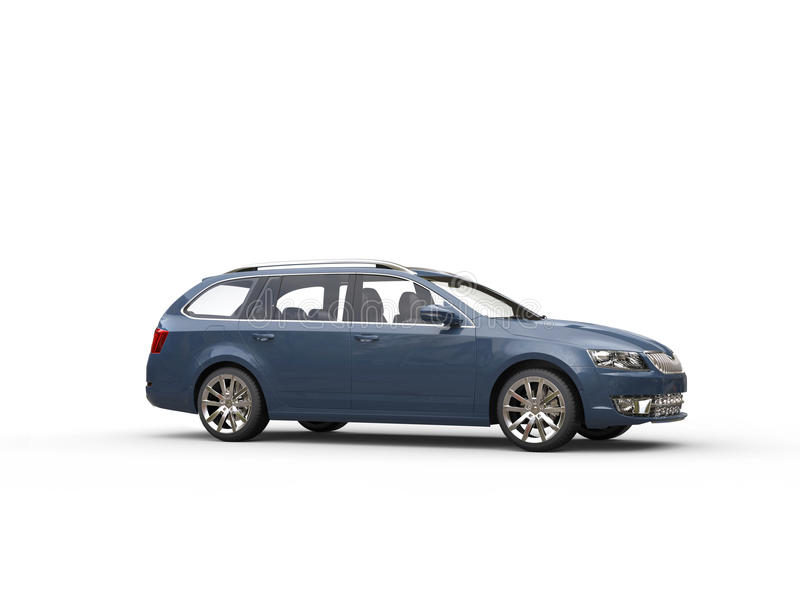 Grey blue family car - side view. Isolated on white background stock photos