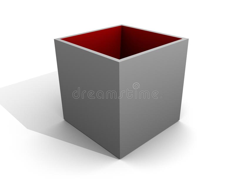 Grey Box Open / Red Inside / Empty Cover Blank royalty free illustration