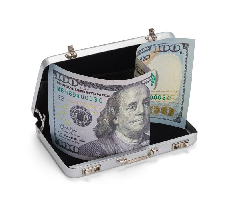 Grey Briefcase con soldi fotografie stock