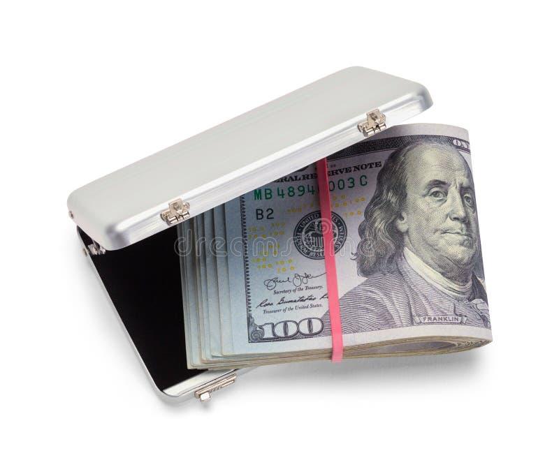 Grey Briefcase di chiusura con soldi immagini stock