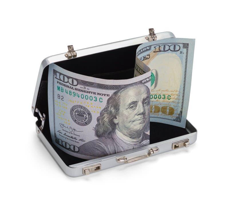 Grey Briefcase met Geld stock foto's