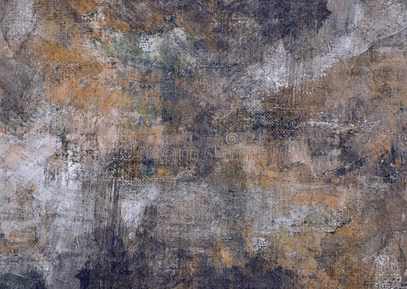 Dark Grey Brown Black Stones Canvas Abstract Painting Grunge Rusty Distorted Decay Old Texture for Autumn Background Wallpaper. Grey Brown Black Stones Wall royalty free stock photos