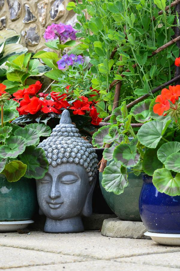 Grey Buddha head amongst garden plants. Grey Buddha head on the floor amongst garden plants. Gautama Buddha, also known as Siddhārtha Gautama, Shakyamuni stock images