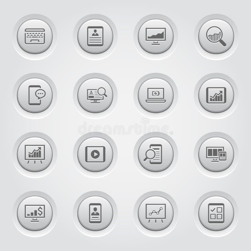 Grey Button Design Icon Set ilustração do vetor