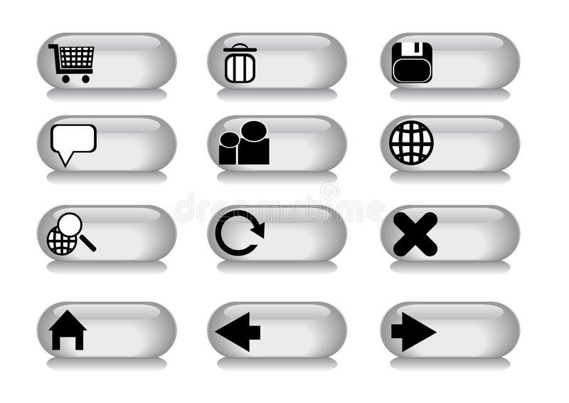 Download Grey buttons with icons stock illustration. Image of elements - 12866093