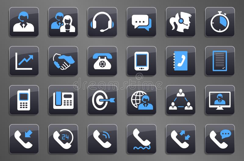 24 Grey Call Center Communication Button Icons vector illustration