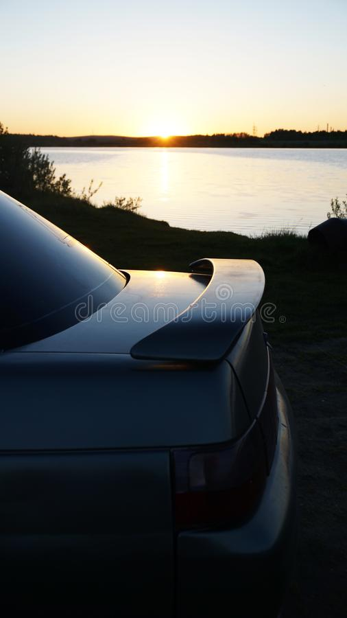 Grey car in natura in Russia stock photography