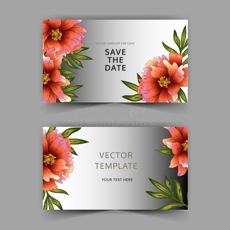 Grey card peony of the flower vector. Wedding background card floral decorative border. vector illustration