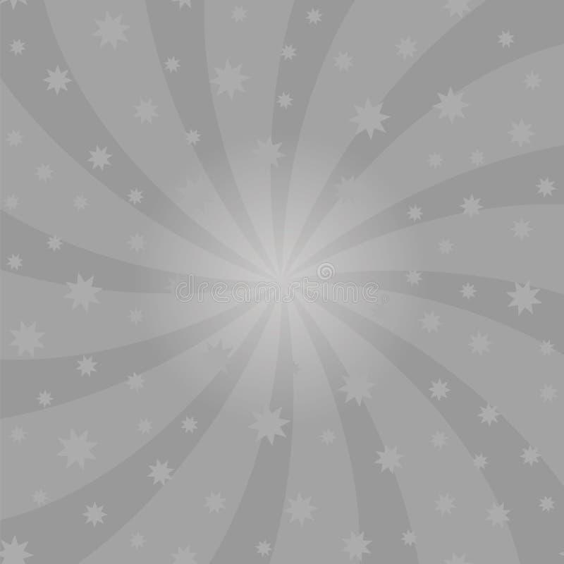Grey Cartoon Swirl Design Turbulenz starburst Spiralen-Rotationsquadrat Schneckenrotationsstrahlen stock abbildung