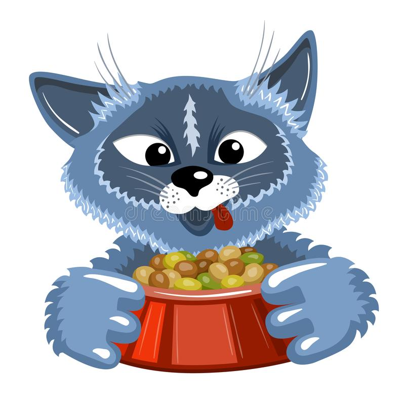 Grey cat with bowl of food vector illustration