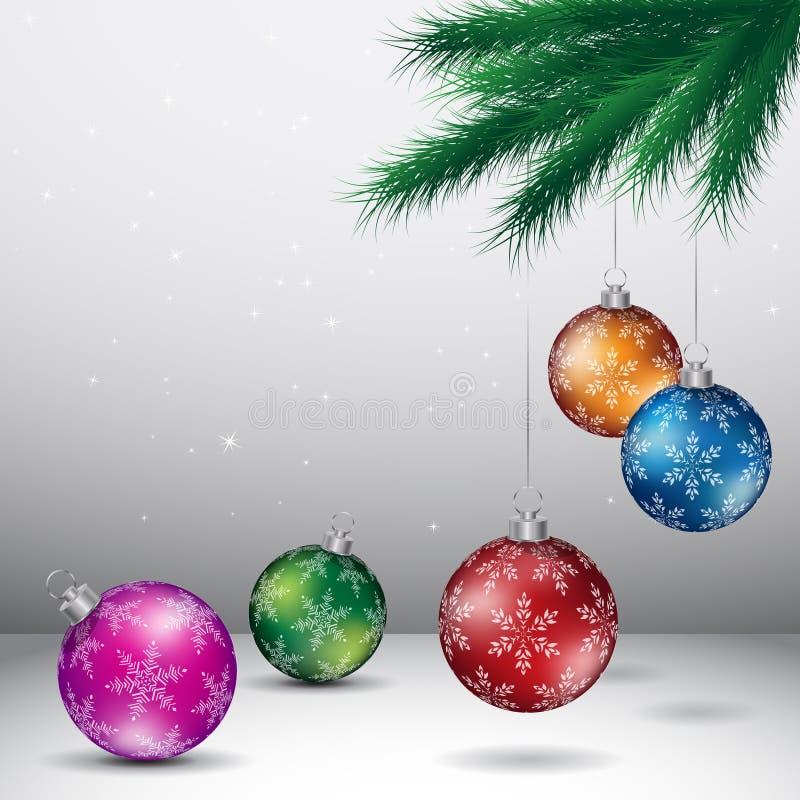Grey Christmas Background met Glanzende Kleurrijke Ballen Vectorillu stock illustratie