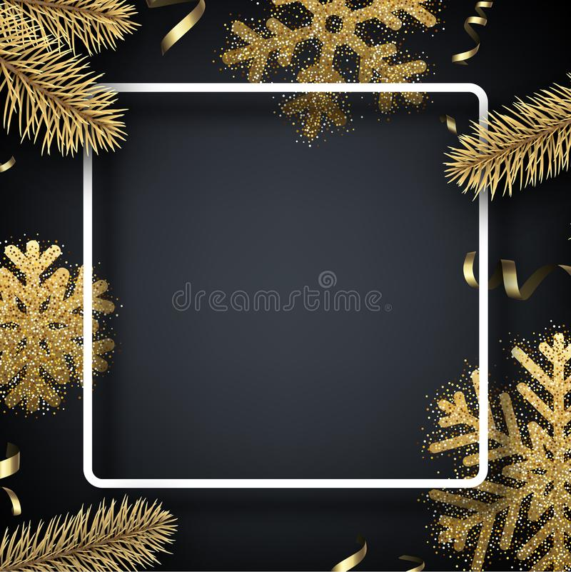 Christmas and New Year background with square frame and golden d royalty free illustration