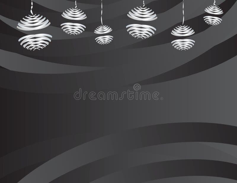 Grey Christmas-ornamenten die op Zwarte achtergrond hangen vector illustratie