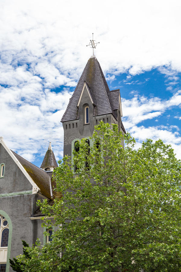 Grey Church Steeple Beyond Tree imagens de stock