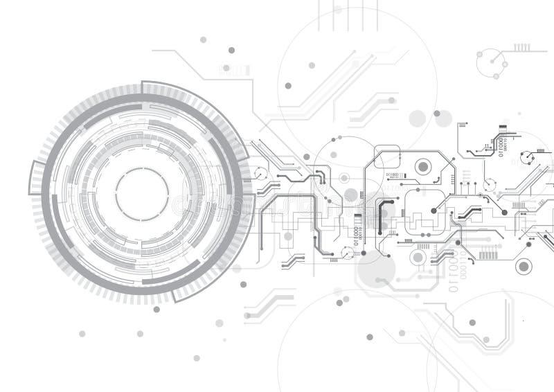Grey Circuit Circle Technology Vector-Hintergrund stock abbildung