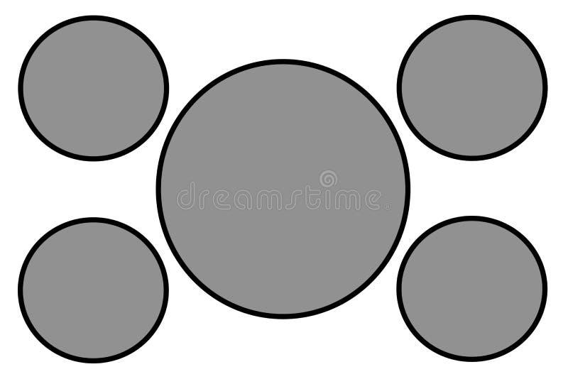 Grey Circular Banners, svart gräns och vit bakgrund Bruk f?r illustrationavsikt, bakgrund, website, aff?rer, arkivfoton