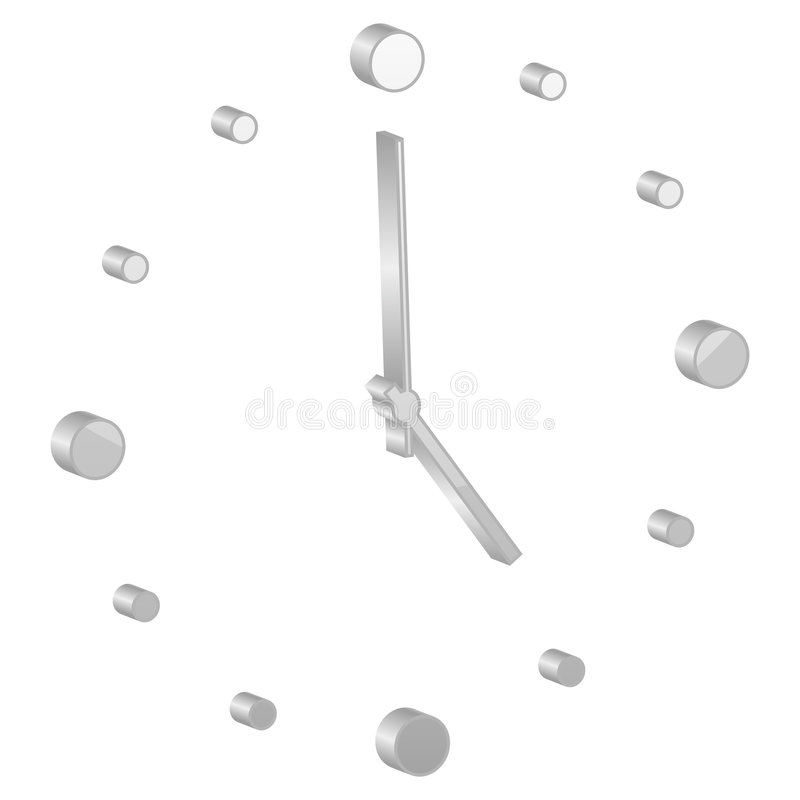 Grey clock symbol stock illustration