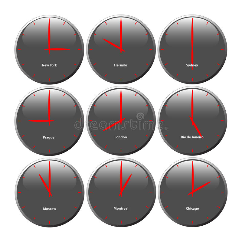 Grey clocks with glossy area showing world time, the red pointer stock illustration